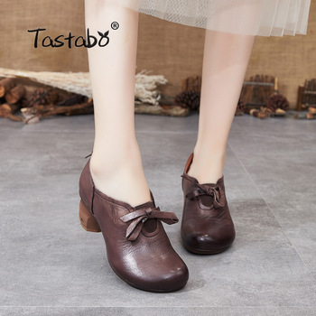 Tastabo manual Genuine Leather high heel women's boots Black brown Comfort style S90836 Daily women's shoes Breathable insole