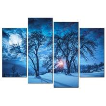 4 шт Звездная ночь парусиновая плакаты эстетическое зимние дерево