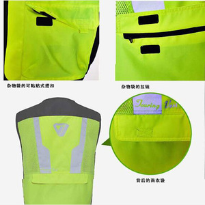 Image 5 - 2020 New  Fashion Germany Motorcycle Riding Fluorescent Safety Vest Knight Reflective Vest suit protector of 3D Mesh 600D Oxford