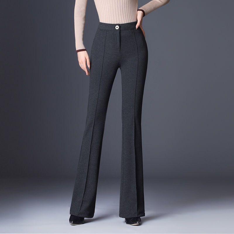 #1906 Autumn Winter Elastic High Waist Flare Pants Women Casual Elegant Office Lady Bell Bottom Pants Female Warm Plus Size 4XL