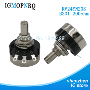 2PCS RV24YN20S RV24YN20S-B201 200 ohm Potentiometer RV24YN 201 200R Single Coil Carbon Film Potentiometer(China)