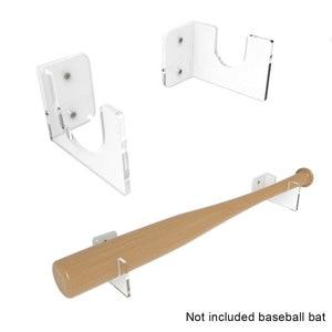 Accesorios de pared transparente para tienda de softbol soporte de bate de béisbol de fácil instalación, estante de exhibición Horizontal para el hogar, 2 unidades