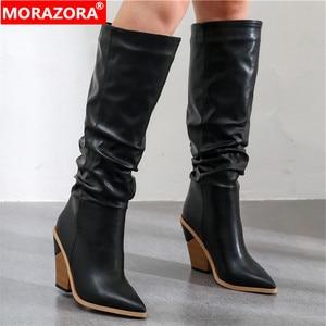 Image 1 - MORAZORA 2020 Hot marque genou bottes hautes femmes bout pointu épais talons hauts automne hiver bottes couleurs solides robe chaussures femme