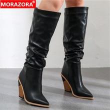 MORAZORA 2020 חם מותג הברך גבוהה מגפי נשים הבוהן מחודדת עבה גבוהה עקבים סתיו חורף מגפי מוצק צבעים שמלת נעליים אישה