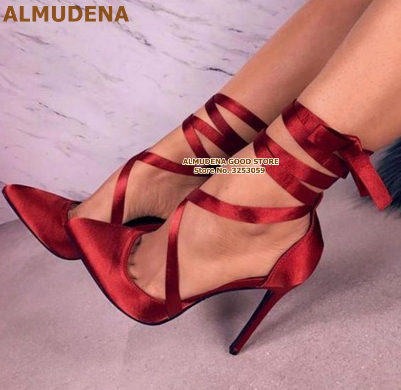 ALMUDENA Red Satin Cloth Riband Lace up