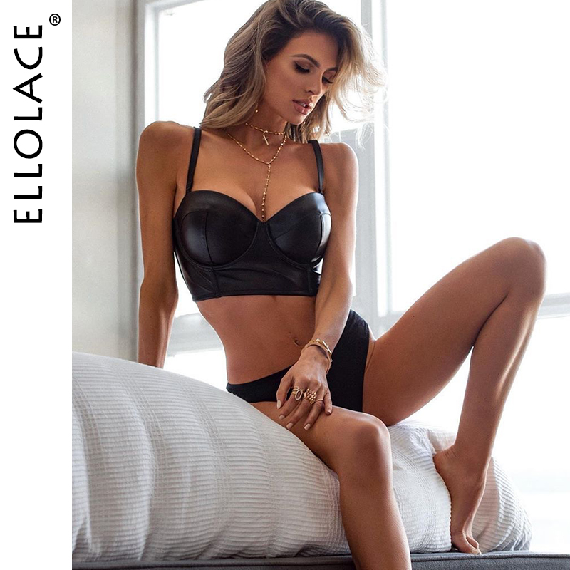Ellolace Pu Leather Underwear Set Women Push Up Erotic Female Bodycon Babydoll Sexy Deep-V 2020 New Beachwear Party Bra Sets