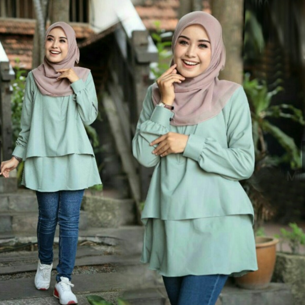 Siskakia Muslim Women Tops White O neck Long Sleeve Solid pudding Blouses Green Fashion Casual Middle Eastern Malaysia Clothing