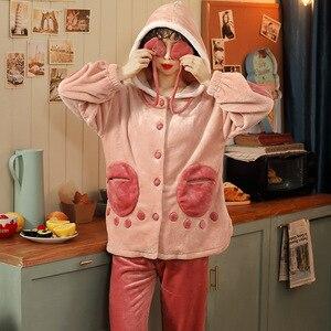 Image 4 - JULYS SONG ensemble de pyjama 2 pièces pour femme, vêtements de maison épais et chaud, doux, manches longues, confort, nouvelle collection vêtements de nuit en flanelle