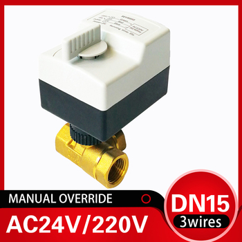 DN15 3 way Electric motorized water valve with manual override, 220V electric control valve 1/2 brass valve for air condition