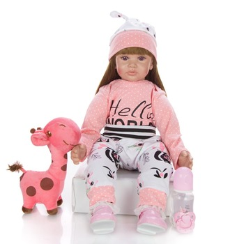 plush toy + newborn bebe doll reborn baby girl silicone and cotton realistic princess doll children play toy new bebe reborn fashion dollmai bebe reborn dolls 3 4 silicone babies 58cm very beautiful girl for children xmas gifts realistic simulation toy