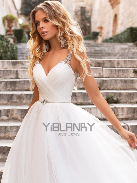 Luxury Wedding Dress Tulle And Beading With A-line V-neck Sleeveless Spahrtti Strap Bride Dresses Backless Button Plus size 3