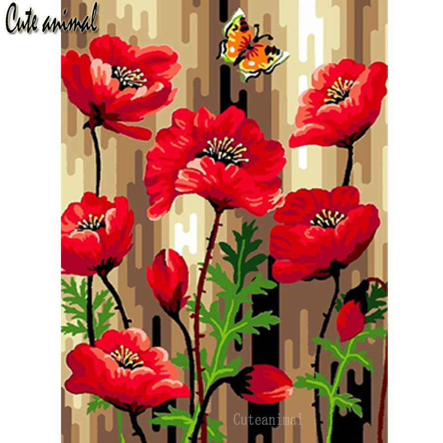 5D DIY Diamond Painting Full Square Round Drill Poppy red flowers butterfly Diamond Embroidery Diamond Mosaic Decorations gift