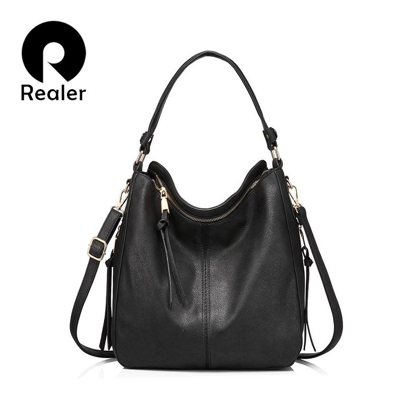 REALER женские сумки из искусственной кожи Вместительные сумки на плечо высокого качества для Дамы Вместительные сумки через плечо с коротким...