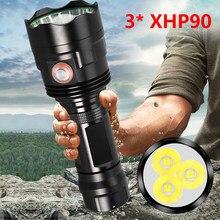3 uds XHP90 linterna LED superpotente XHP50 antorcha táctica USB recargable Linterna lámpara impermeable Ultra brillante linterna 30W