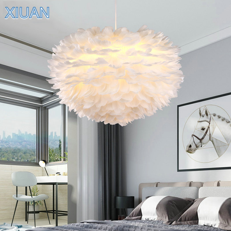Creative Nature White Feather Chandelier Light Handmade Feather Lampshade Pink Purple Wedding Bedroom Hanging Lamp LED Lustre