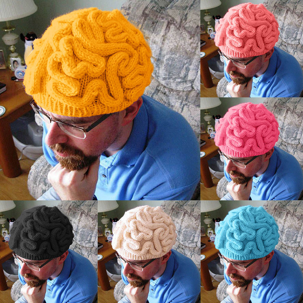 Crochet Beanie Brain-Hat Cerebrum-Cap Hand-Knitted Cool Novelty Personality Kids Adult