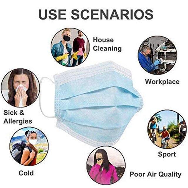 Disposable Mask Face Mouth Anti-Virus Protective Facial 3-Ply Anti-flu Influenza Earloop Non Woven Dust Masks melblown 4