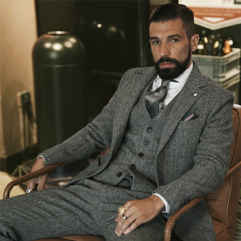 Custom Made To Measure Mens Tweed Jacket Men Grey Mens Herringbone Coat Custom Mens Tweed Coat Tweed Fall Winter Sport Coat