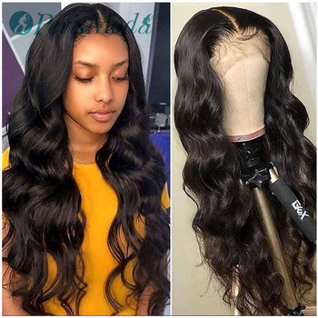 Synthetic Lace Front Wigs for Black Women Loose Wave Natural Density Long Black Wigs PerisModa Heat Resistant Fiber Hair Wigs 180% density heat resistant fiber syntehtilace lace front wig body wave black hair synthetic wigs for black women free shipping