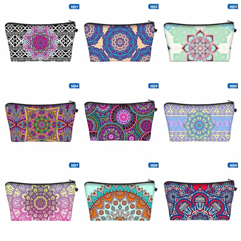 Women'S Make Up Bag Travel Organizer Case Printing Cosmetic Storage Bag Pouch Mandala Purple Clutch Pencil Case Stationery