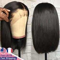 Yyong 13x4 Peluca de corte contundente Bob pelucas de cabello humano frontal de encaje corto pelucas de cabello humano brasileño recto Bob pelucas con minimechones Remy peluca con malla frontal 120