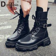 Doratasia новые модные женские ботинки на платформе с перекрестной