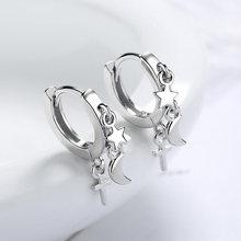 KOFSAC sevimli kadın küpe yıldız ay çapraz püskül takı yeni Trendy 925 ayar gümüş küpe bayan hediyeler parti aksesuarları