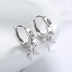 KOFSAC Cute Women Earrings Star Moon Cross Tassel Jewelry New Trendy 925 Sterling Silver Earring Lady Gifts Party Accessories