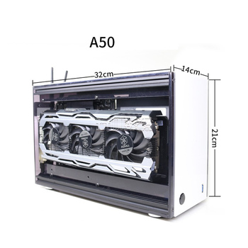A50 Mini DIY Desktop Case ITX Motherboard Acrylick Transparent Gaming Computer Case With Power Supply radiator Kits 2