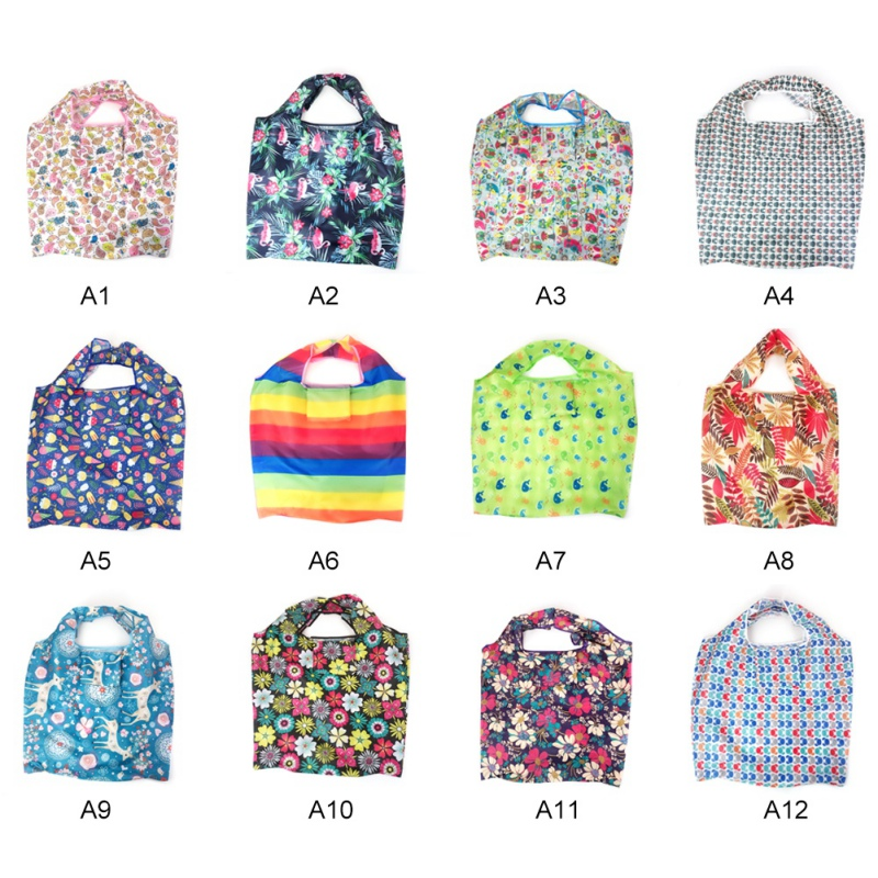 Floral Printed Fabric Square Bag Portable Vegetable Shopping Bag Green Folding Bag Storage Bag in Storage Bags from Home Garden