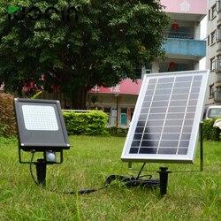 12 шт. светодиодный фонарь с питанием от солнечной панели для сада свет PIR датчик движения водонепроницаемый IP65 20 Вт светодиодный прожектор н...