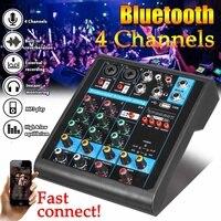 Mini 4 Channels Audio Mixer USB bluetooth MP3 Live Studio DJ Sound Mixing Console Karaoke Computer 48V Phantom Power For KTV