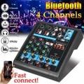 Mini 4 canais de áudio mixer usb bluetooth mp3 estúdio ao vivo dj som mixagem console karaoke computador 48 v energia fantasma para ktv