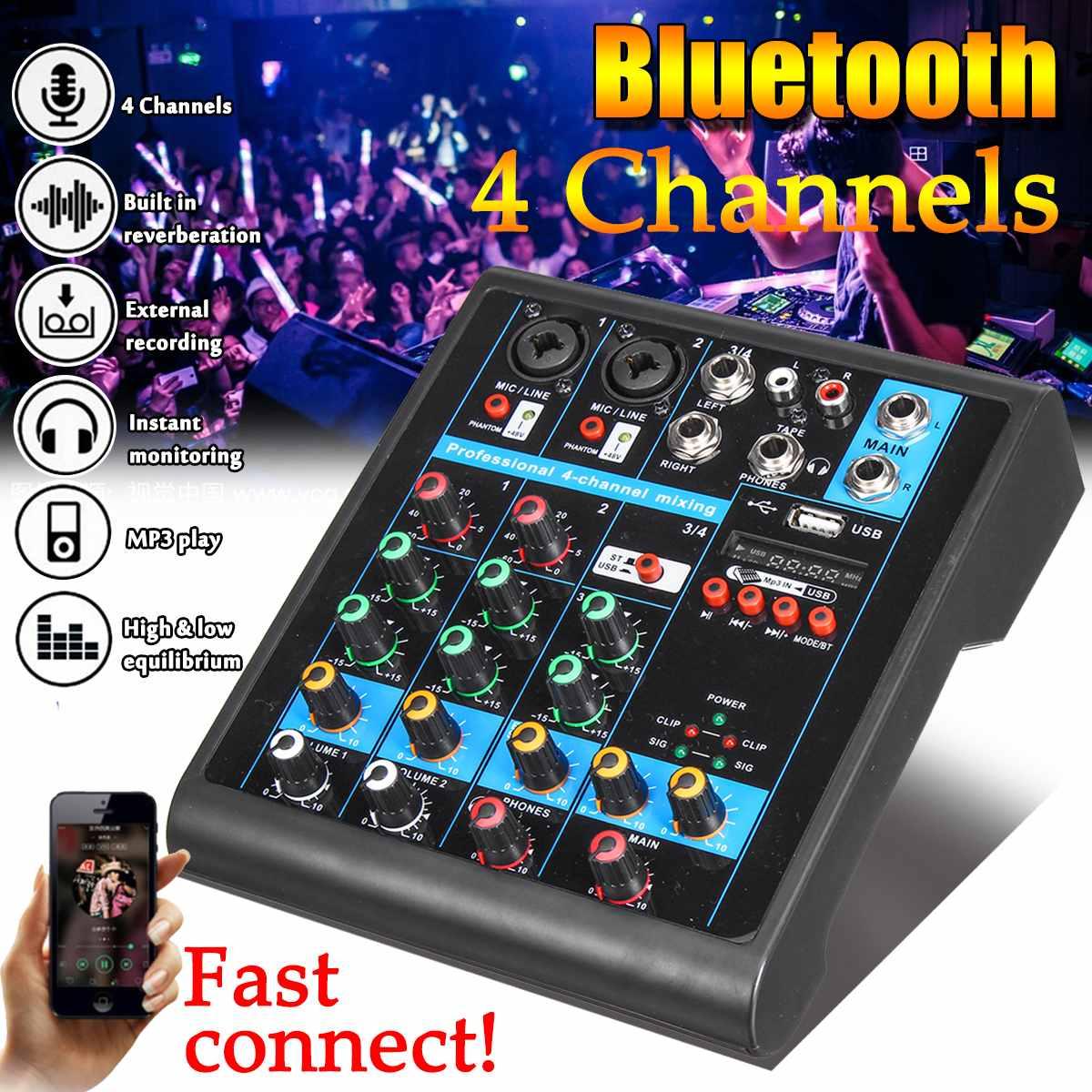 Mini 4 canaux Audio Mixer USB bluetooth MP3 Studio en direct DJ son Console de mixage karaoké ordinateur 48V alimentation fantôme pour KTV