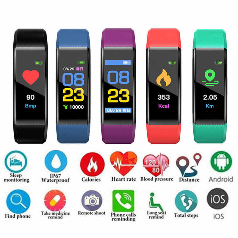 Bluetooth Smart Watch Pria Wanita Heart Rate Tekanan Darah Monitor Kebugaran Tracker Smart Gelang Band Tahan Air Sport Gelang