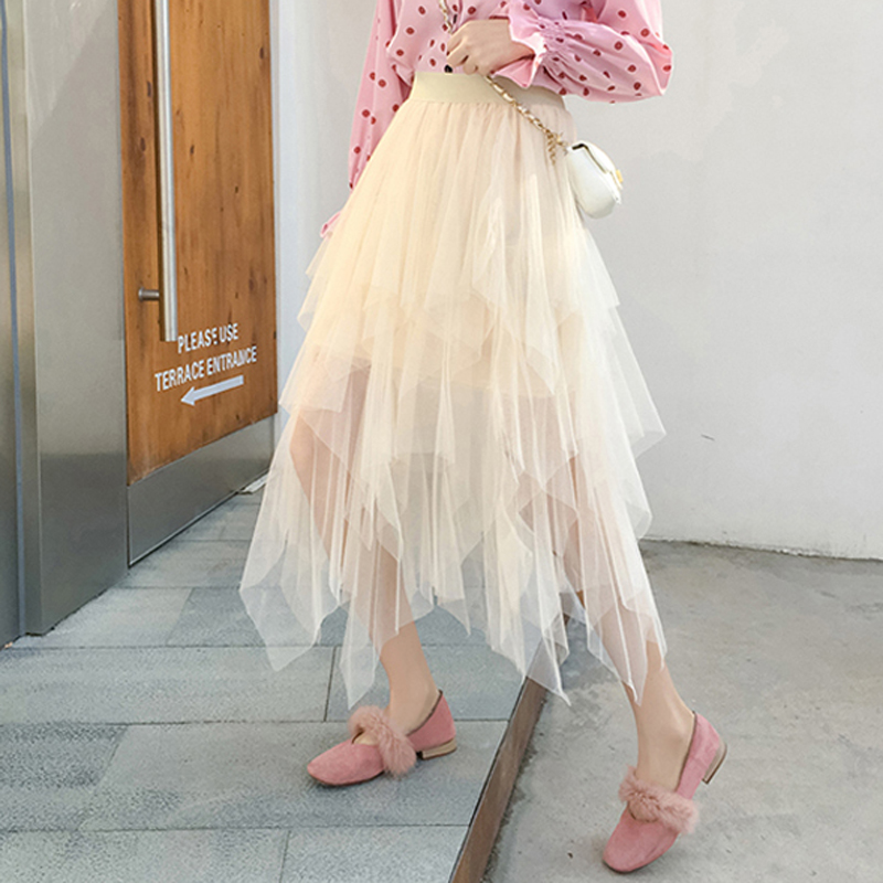Zoki Elegant Women Ball Gown Tulle Skirt Spring Korean Elastic High Waist Mesh Long Skirt Summer Party Pink  Faldas Mujer 2020