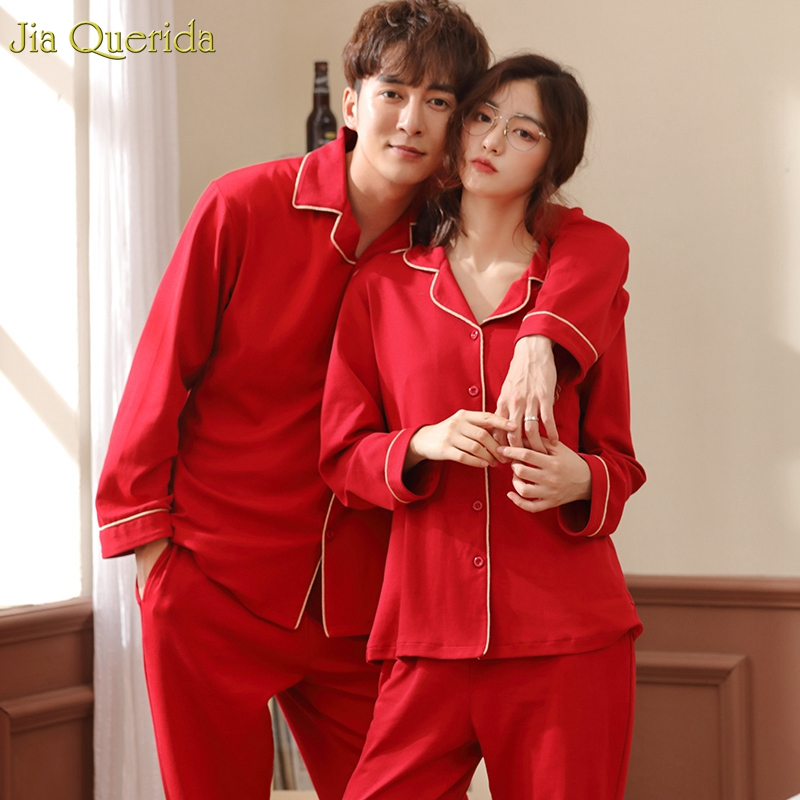 New Pajamas Couple Set 100% Pure Cotton Long Sleeves Embroidery Pocket Luxury Men And Women Home Clothing Red Wedding Pajama Set