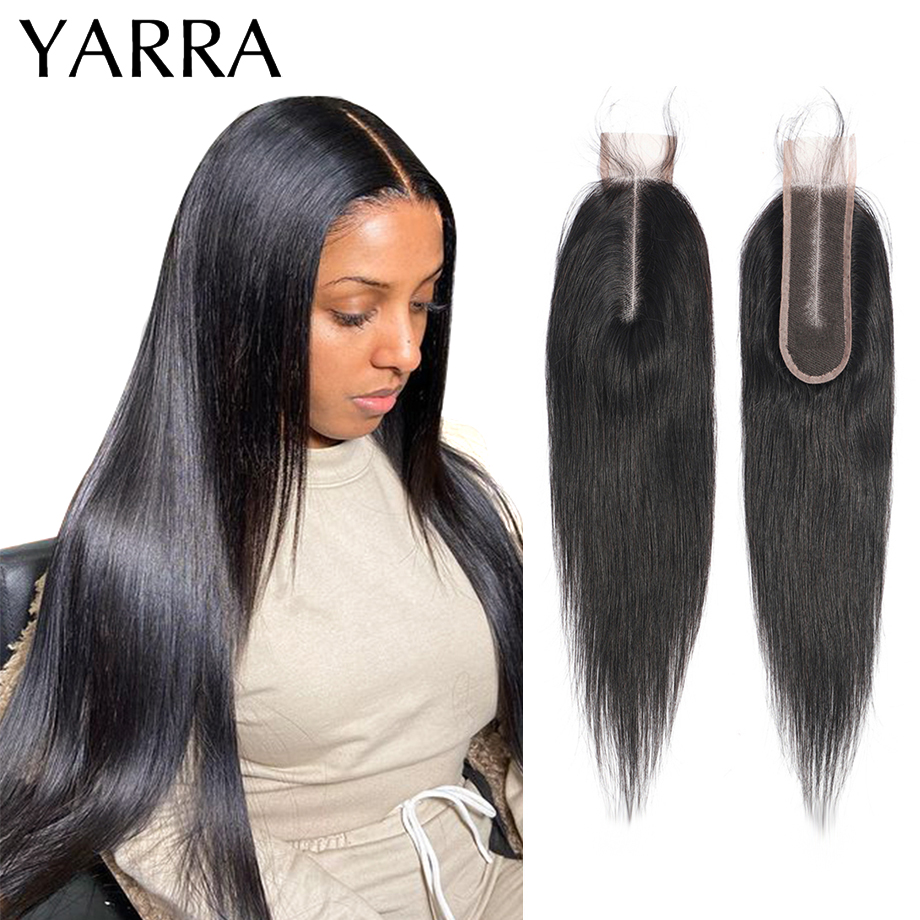 Straight 2x6 Lace Closure Only 100% Human Hair Weave Brazilian Straight Hair 2x6 Closure Pre Plucked with Baby Hair Remy Yarra