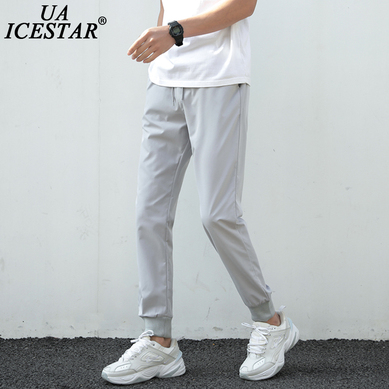 Summer Pants Men 2021 Ultra-Thin Joggers Sweatpants Fashion Casual Fitness Trousers Breathable Quick Dry Ice Silk Men's Pants 1