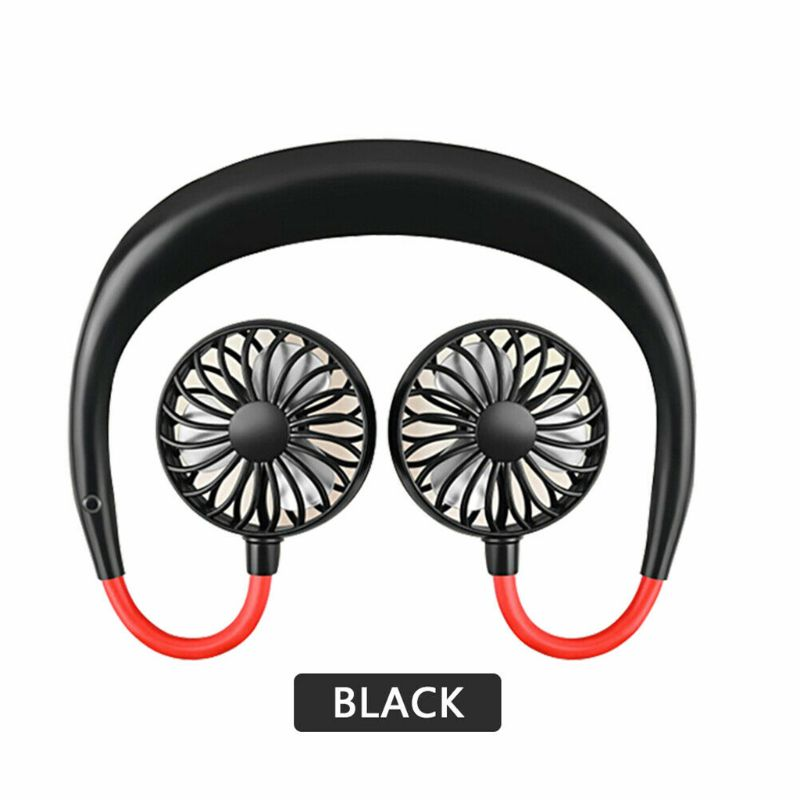 Portable Neck Band Air Cooling Dual Fan USB Rechargeable LED Light Summer Cooler Mini Air Cooler