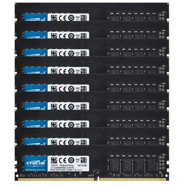 Cruclal 10PCS DDR4 RAM 16GB Desktop Memory 16GB PC4-19200 DIMM 2400MHz RAM 1.2V 288PIN NON ECC ddr4 ram CL17 desktops ram DDR4 1