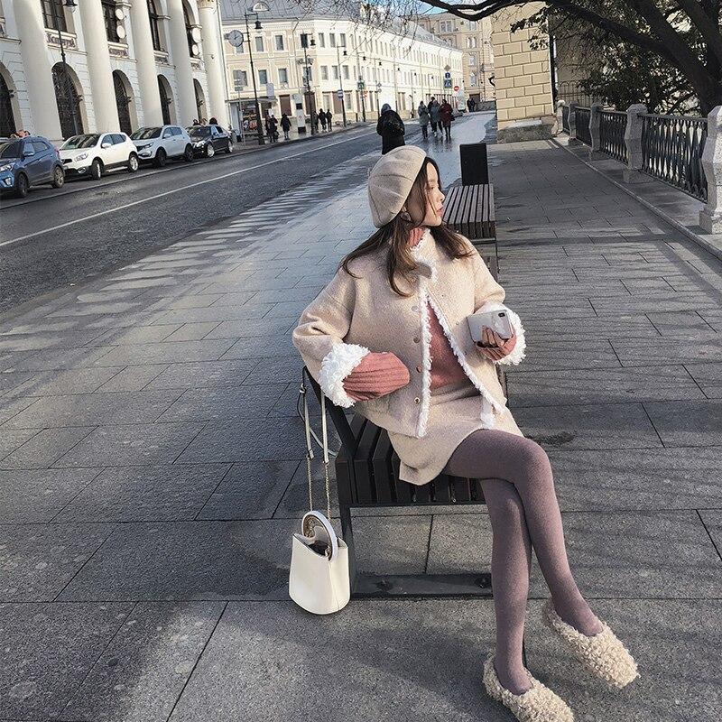 Mishow Women 2018 Autumn And Winter Woolen Suit New Short Paragraph Woolen Coat Skirt Two-piece Suit MX18D0173