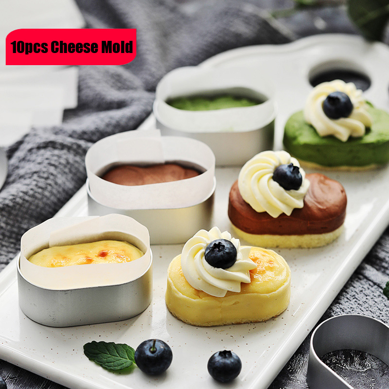 10pcs <font><b>Stainless</b></font> <font><b>Steel</b></font> Oval <font><b>Cheese</b></font> <font><b>Mold</b></font> Mousse Cake Ring <font><b>Mold</b></font> Cake Cutting <font><b>Mold</b></font> Cake Pastry Rings Fondant Cake Decorating Tools image