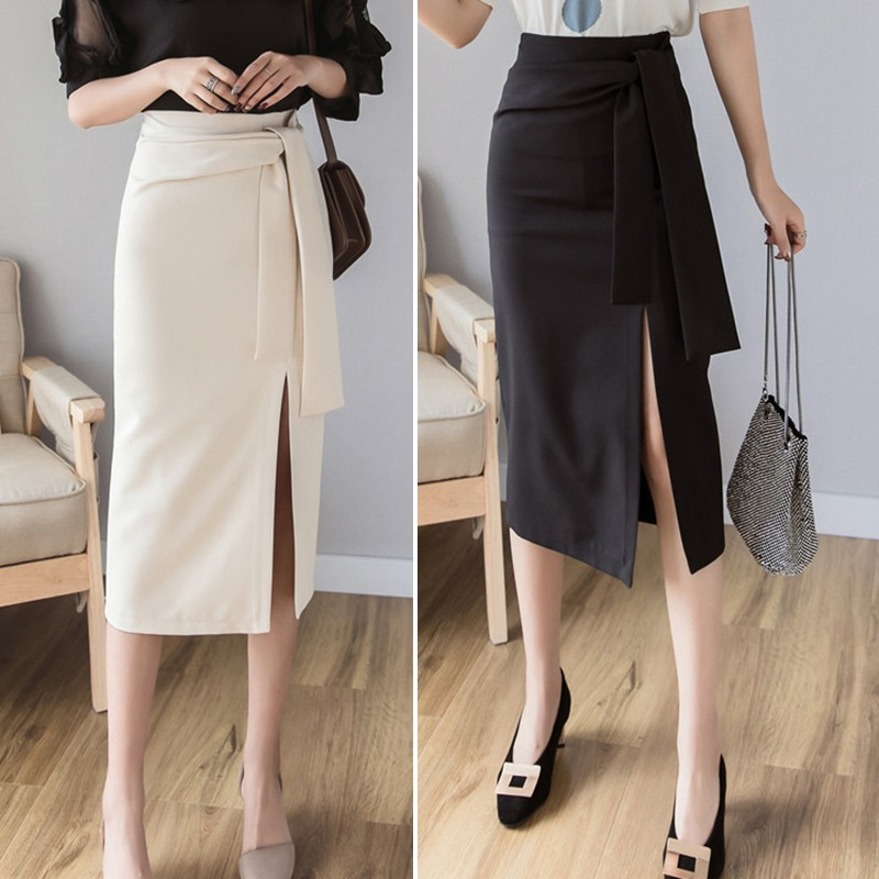 Z Knee-Length Elegant Temperament High Waist High Waist Slit Skirt Fashion Trend Solid Color Women's Bodycon Skirt Black/ White