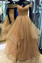 Champagne Sweetheart Tulle Long Prom Dress Evening Custom Made