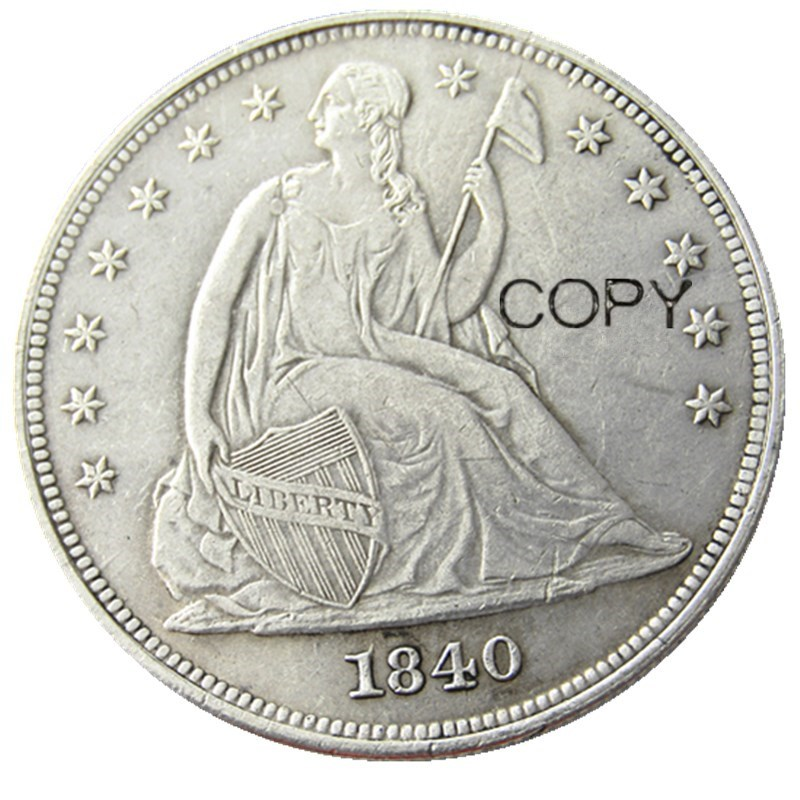 Us coins 1840 sentado dólar da liberdade cópia moedas prata chapeado