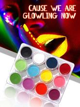 12 Colors Body Paint Fluorescent Pigments Light Black Light Facial And Body Paint Luminescent Pigments In Dark Body Paint