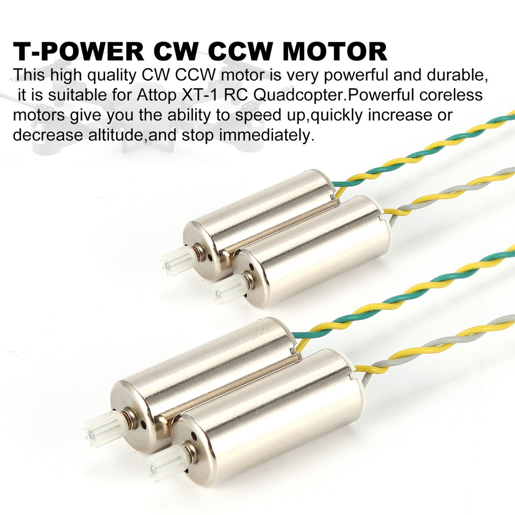 T-power 2 Pair CW CCW Motor RC Part For Attop XT-1 RC Quadcopter WiFi FPV Drone CW CCW Coreless Motor CW Motor CCW Motor Parts