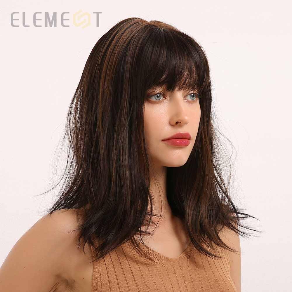 Elemento de longitud media, largo, recto, sintético, marrón, mezcla de pelucas doradas con flequillo limpio para mujeres blancas/negras, fiestas o uso diario