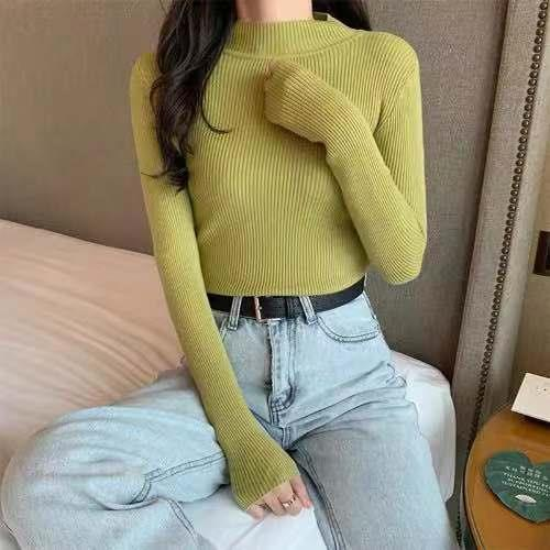 Women Sweaters Autumn Winter Turtleneck Long Sleeve Stretch Blue Knitted Pullovers Fashion Femme Soft Thin Jumper Tops 10 Colors 9
